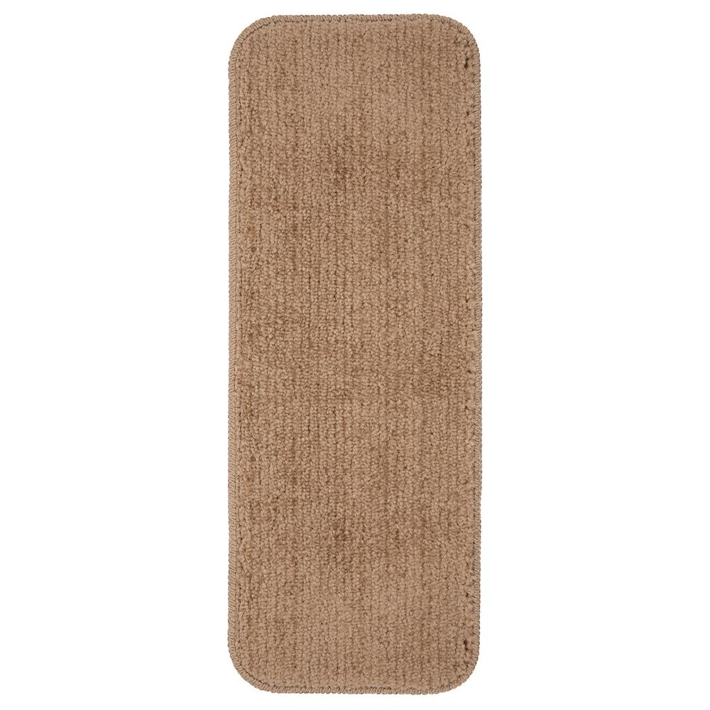Ottomanson Comfort Collection Camel 9 in. x 26 in. Rubber Back Plush Stair Tread (Set of 5)