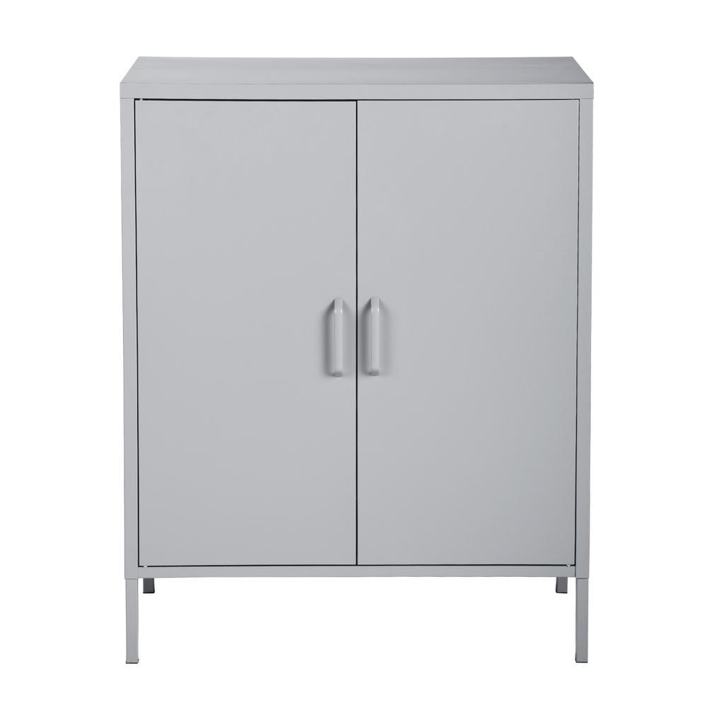 Harland 2-Door Gray Accent Metal Cabinet Whit Shelves