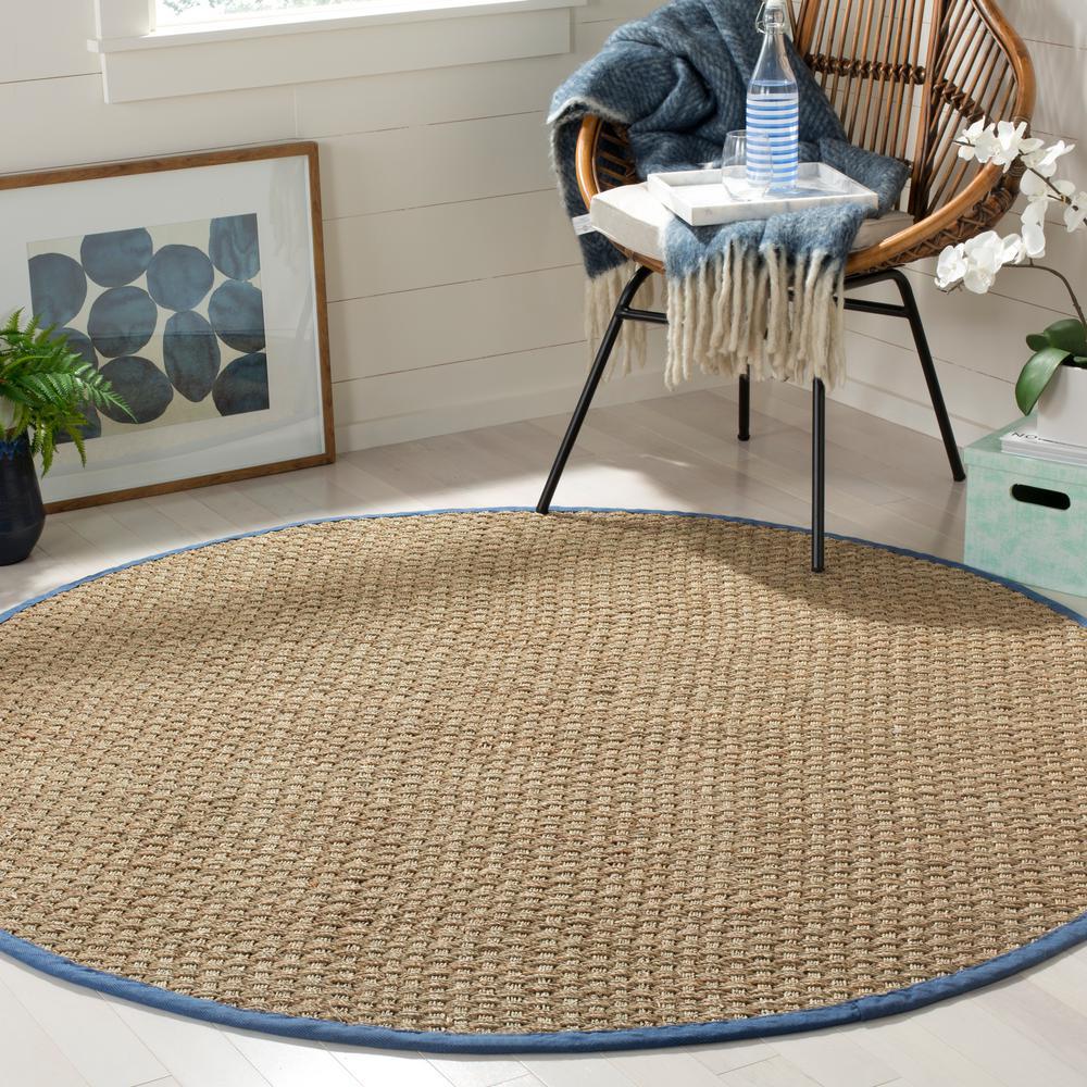 Natural Fiber Beige/Navy 6 ft. x 6 ft. Round Indoor Area Rug