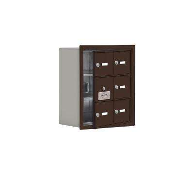 19100 Series 16.25 in. W x 18.75 in. H x 8.75 in. D 5 Doors Cell Phone Locker Recess Mount Keyed Lock in Bronze
