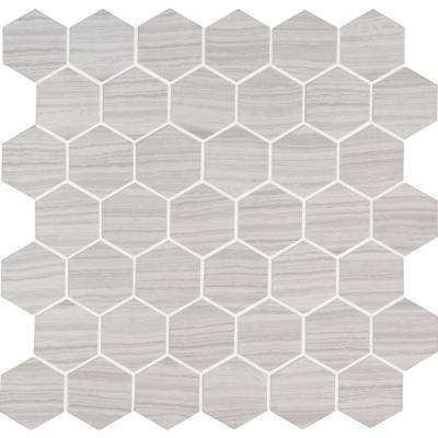 Trinity Ivory Hexagon 12 in. x 12 in. x 10mm Matte Porcelain Mesh-Mounted Mosaic Tile (1 sq. ft.)