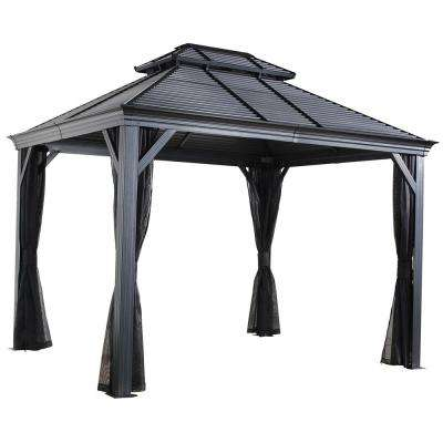 10 ft. D x 14 ft. W Mykonos II Double-Roof Aluminum Gazebo with Galvanized Steel Roof Panels and Mosquito Netting