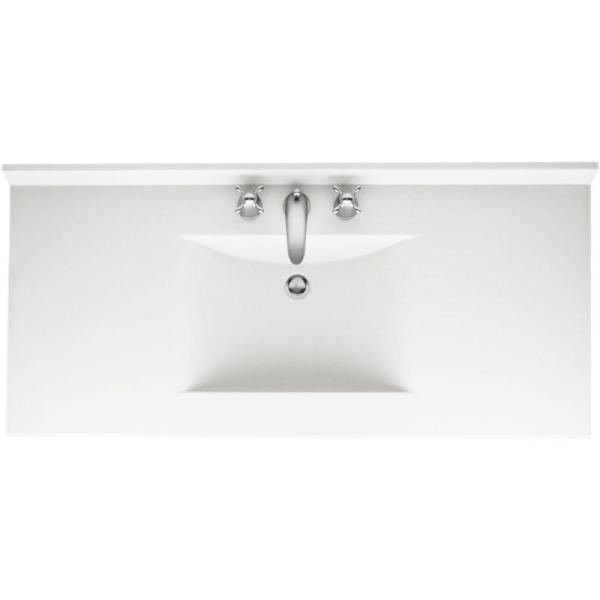 Contour 49 in. W x 22 in. D Solid Surface Vanity Top with Sink in White