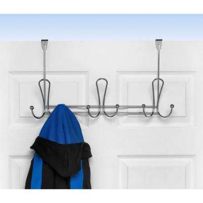 Chrome Quazar 20-3/4 in. L Decorative 9-Hook Over the Door Rack