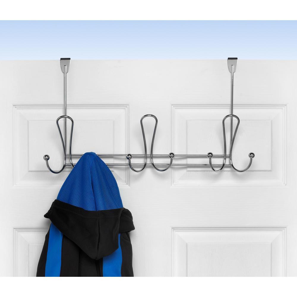 Chrome Quazar 20-3/4 in. L Decorative 9-Hook Over the Door Rack