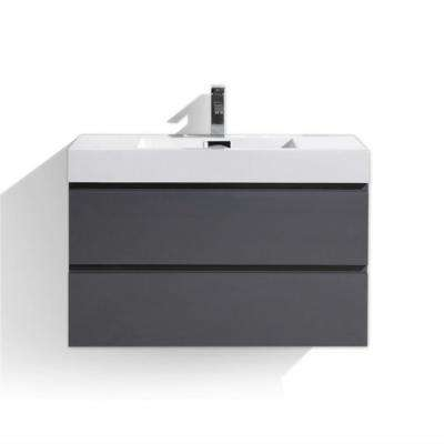 Fortune 36 in. W Bath Vanity in High Gloss Gray with Reinforced Acrylic Vanity Top in White with White Basin