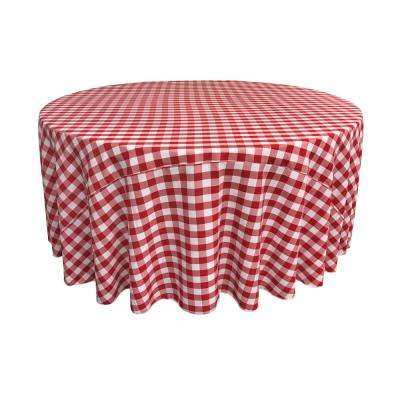 132 in. White and Red Polyester Gingham Checkered Round Tablecloth