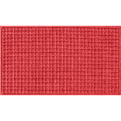 Squares 35 in. x 59 in. PET Polyester Doormat Solid Red