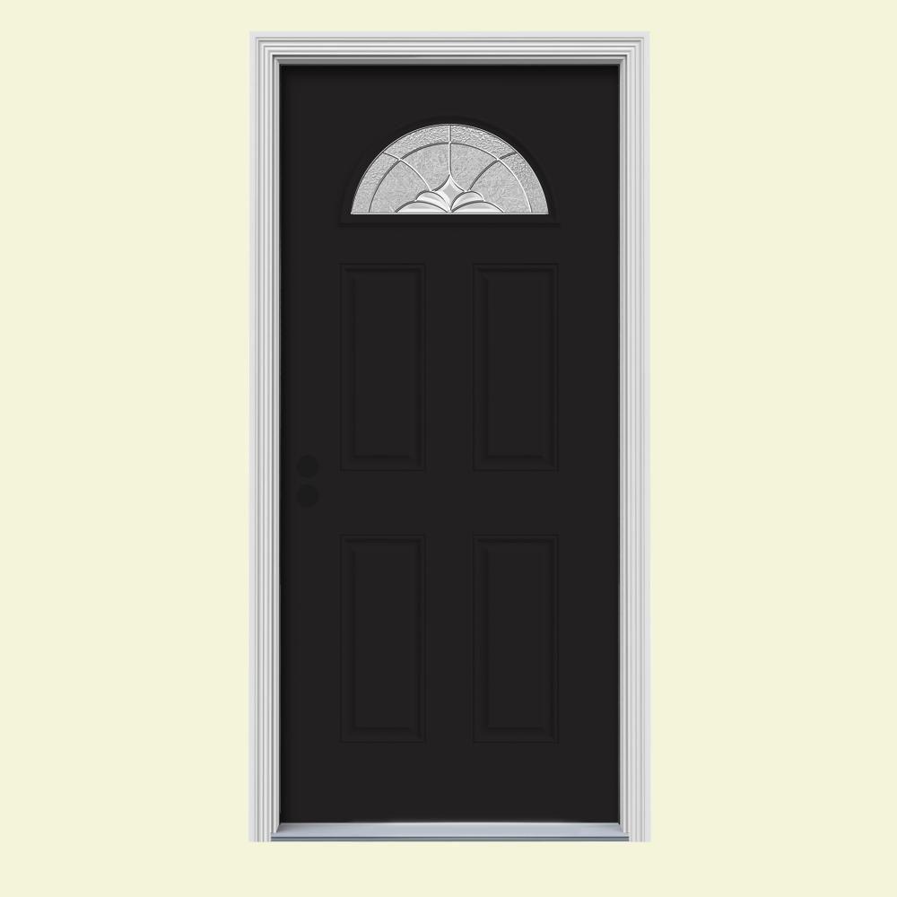 30 in. x 80 in. Fan Lite Langford Black w/White Interior