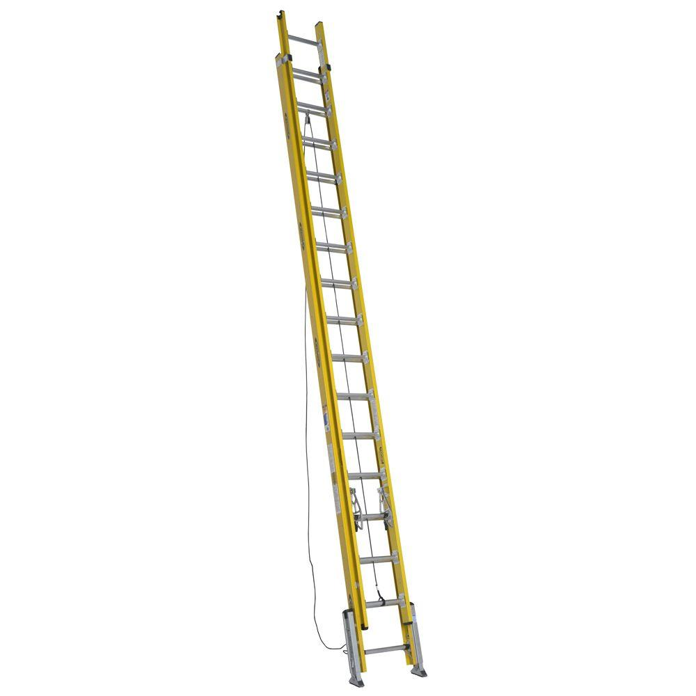 32 ft. Fiberglass D-Rung Leveling Extension Ladder with 375 lb. Load