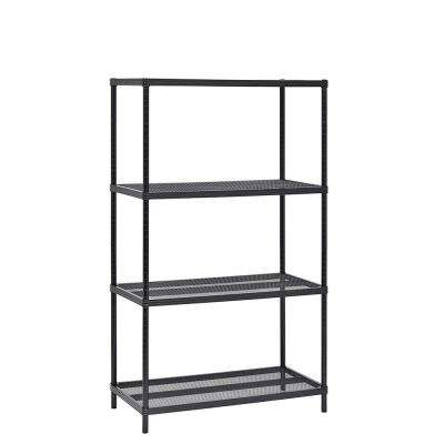 36 in. W x 59 in. H x 18 in. D 4-Tier Mesh Shelving Unit in Black