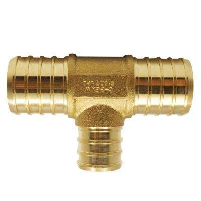 1 in. x 1 in. x 3/4 in. Brass PEX Barb Reducing Tee