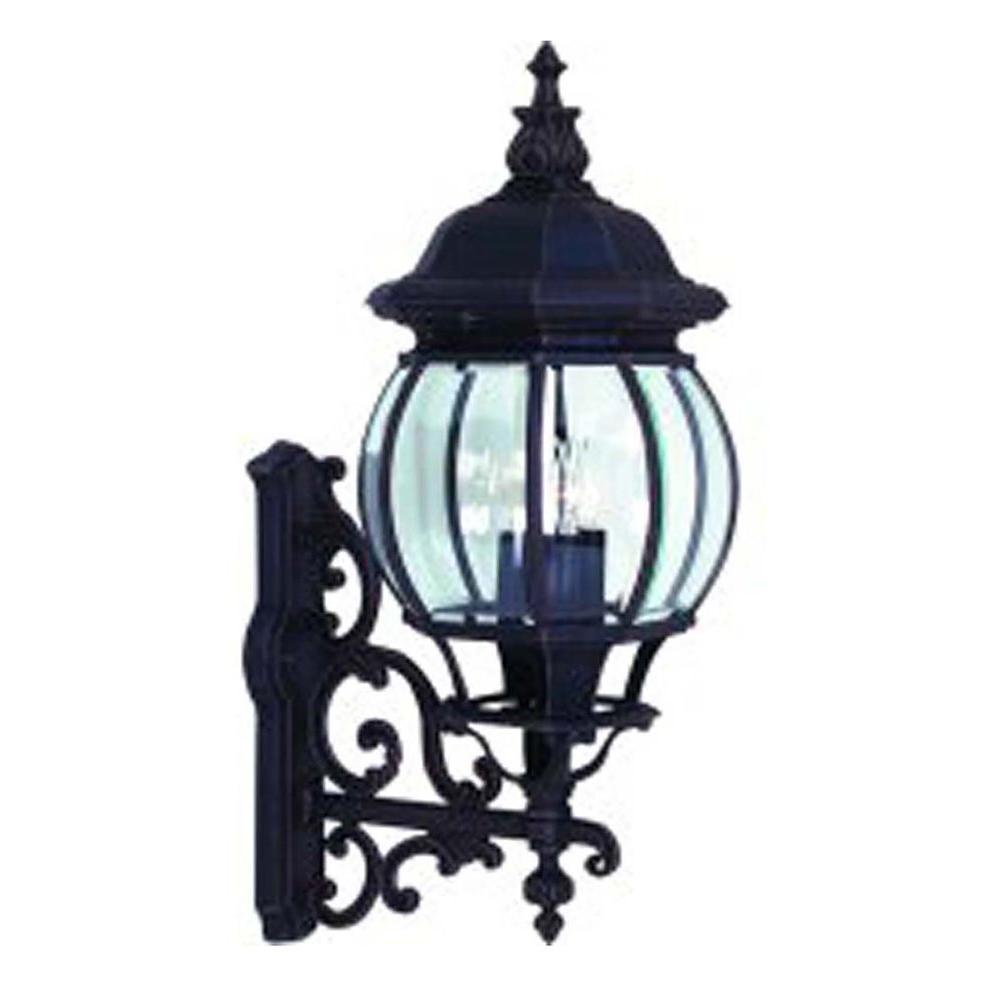 4-Light Black Outdoor Wall Lantern Sconce