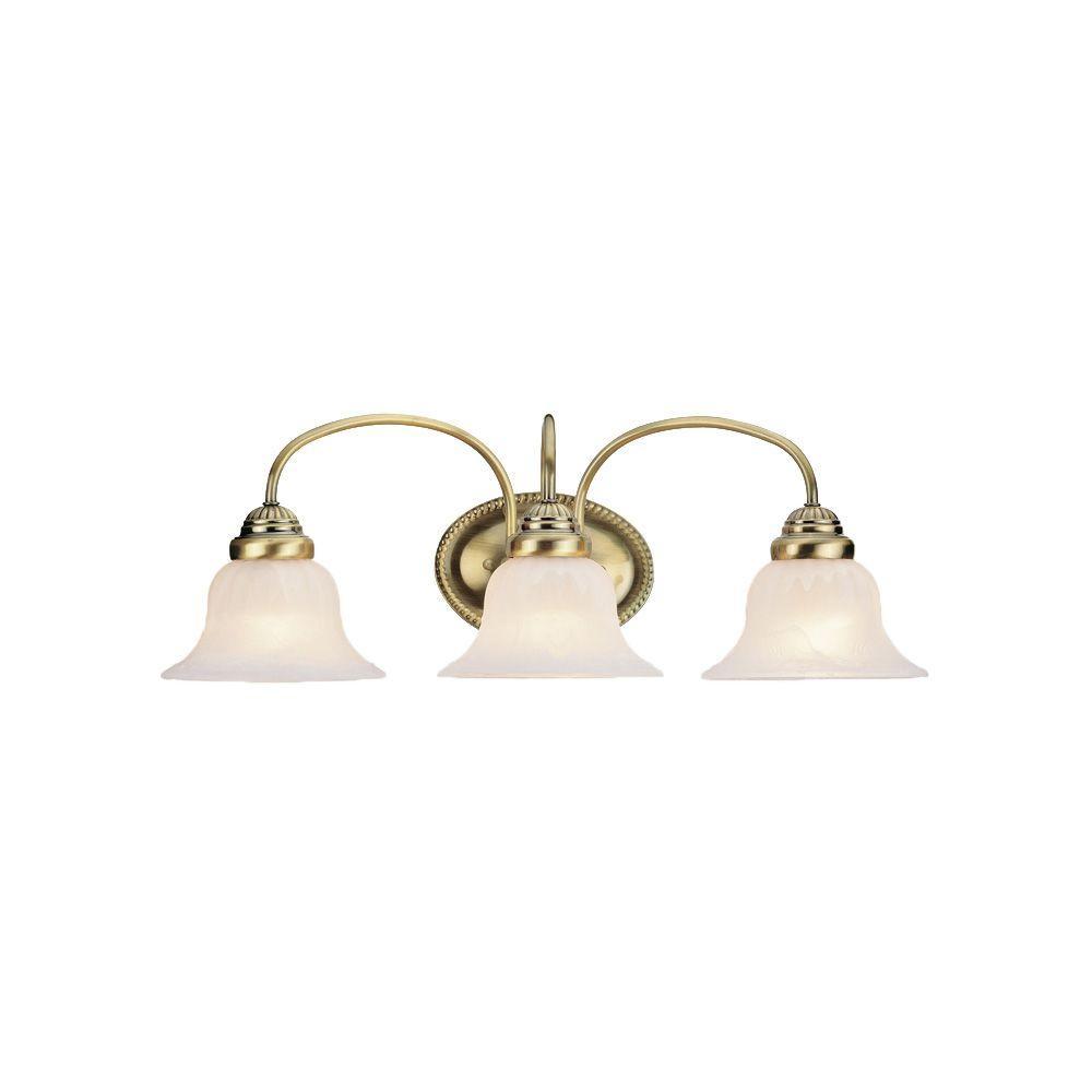 Livex Lighting West Lake 3-Light Antique Brass Bath Vanity Light