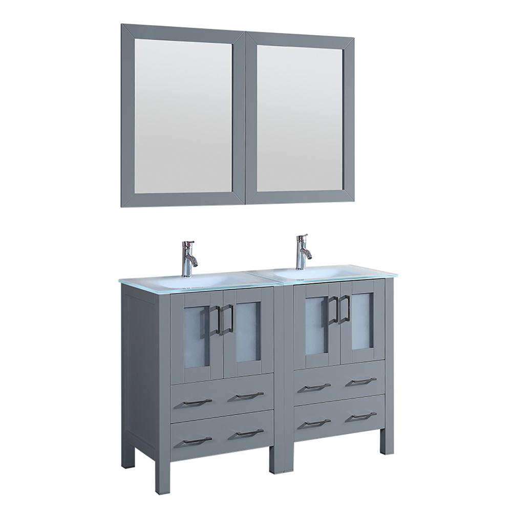 Bosconi Bosconi 48 in. W Double Bath Vanity in Gray with Vanity Top with White Basin and Mirror