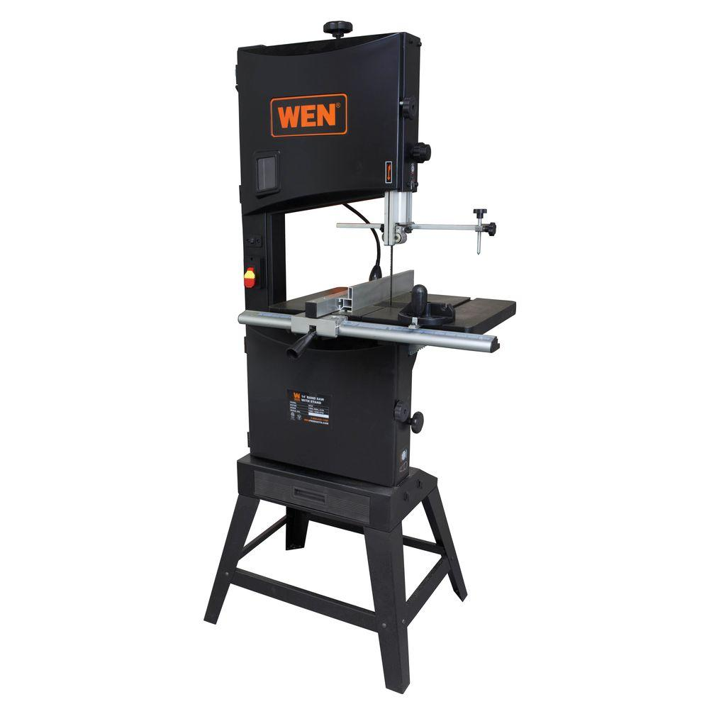 Wen 9 5 amp 14 in 2 speed band saw with stand and worklight 3966 the home depot Band saw table