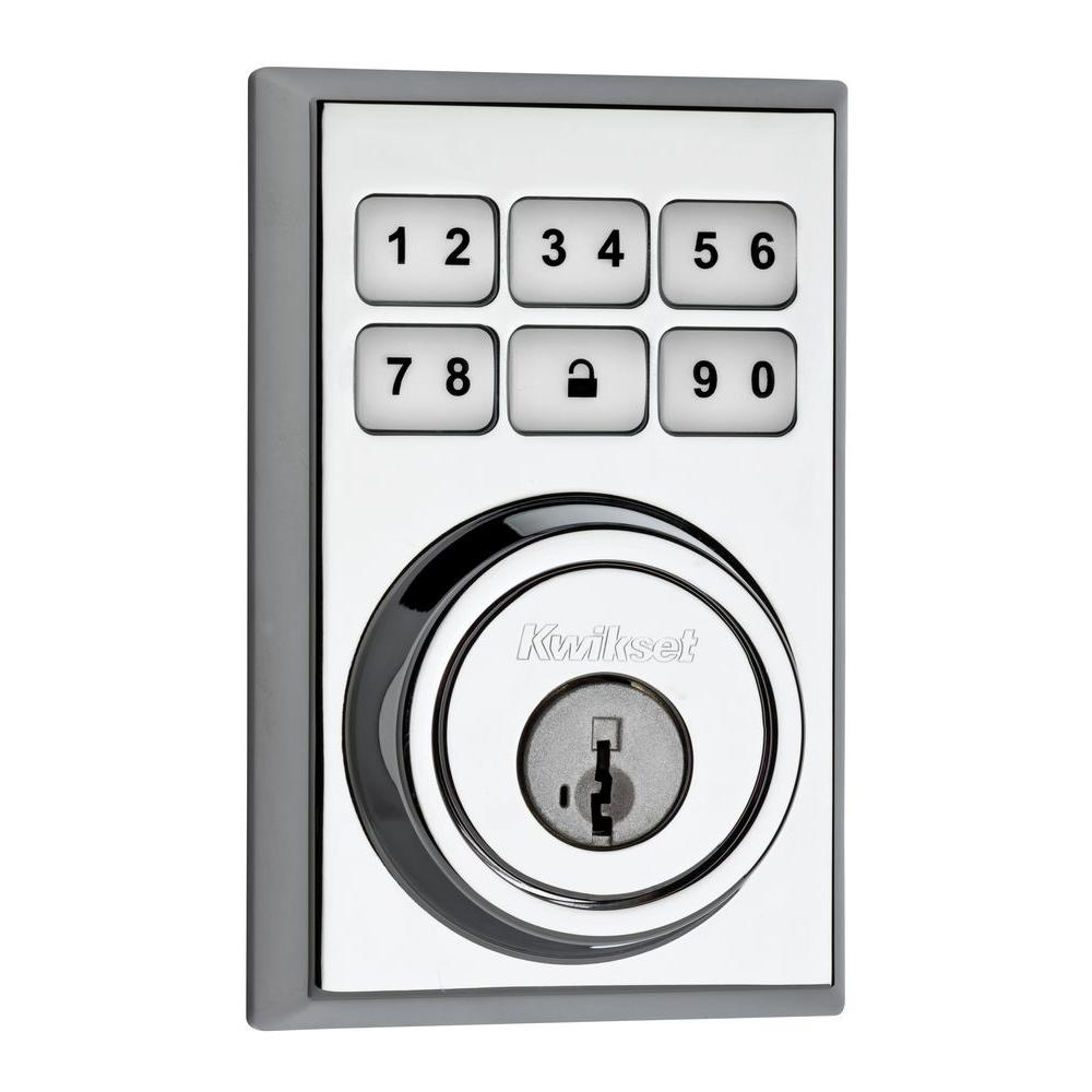 Kwikset SmartCode 909 Contemporary Single Cylinder Polished Chrome Electronic Deadbolt Featuring SmartKey