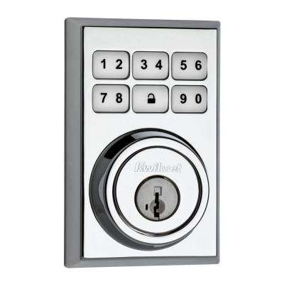 SmartCode 909 Contemporary Single Cylinder Polished Chrome Electronic Deadbolt Featuring SmartKey