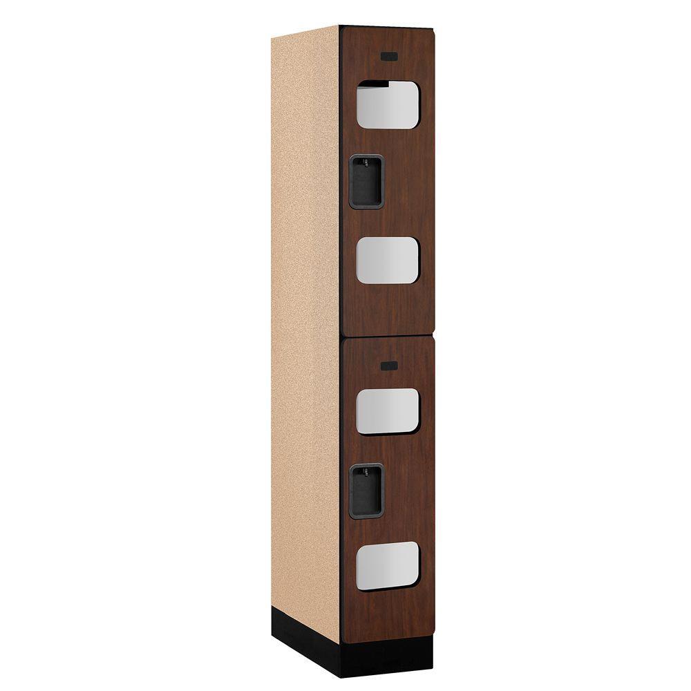 S-32000 Series 12 in. W x 76 in. H x 21 in. D 2-Tier See-Through Designer Wood Locker in Mahogany