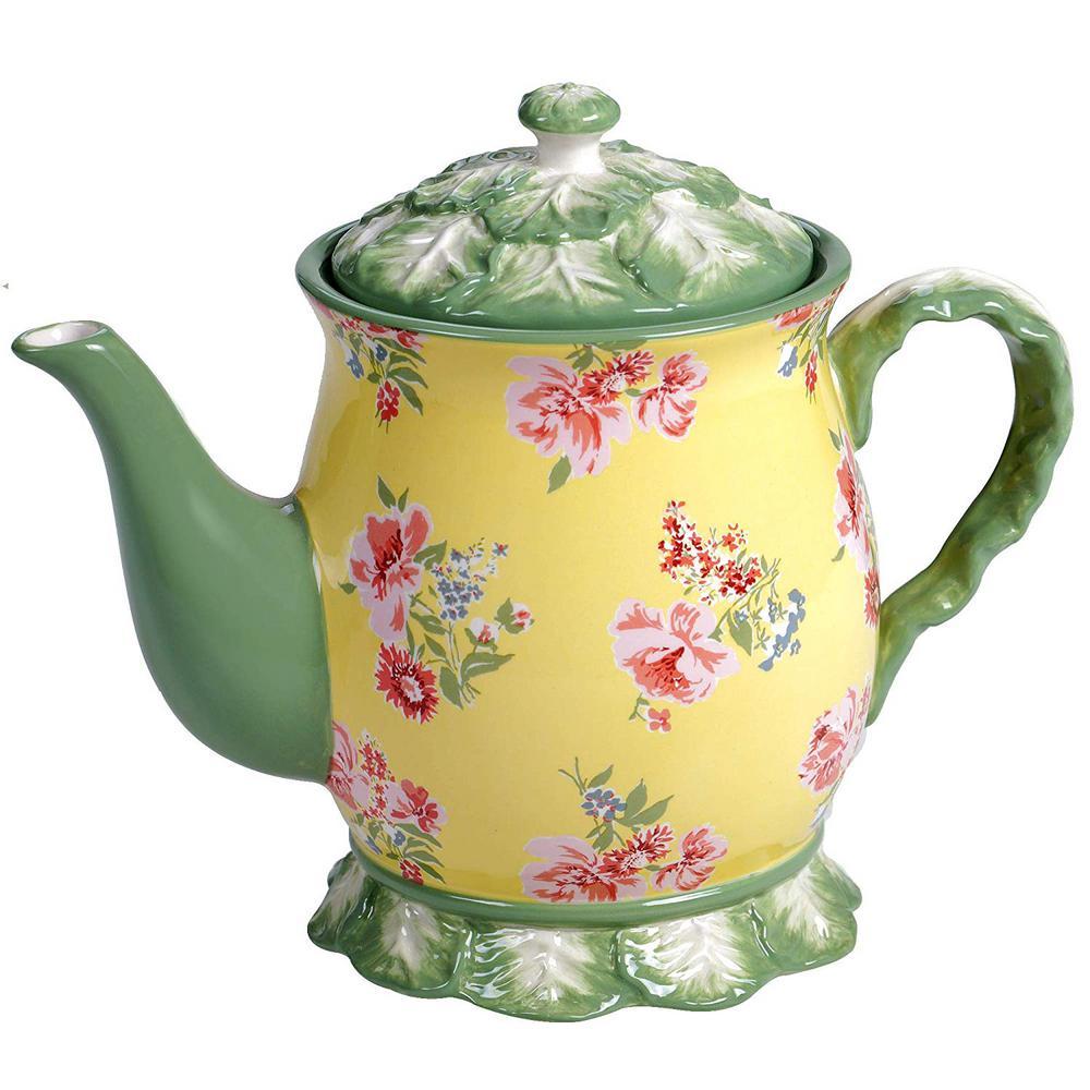 English Garden 38 oz. 3-Cup Multicolored Teapot
