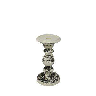 8 in. Ceramic Black/White Candle Holder
