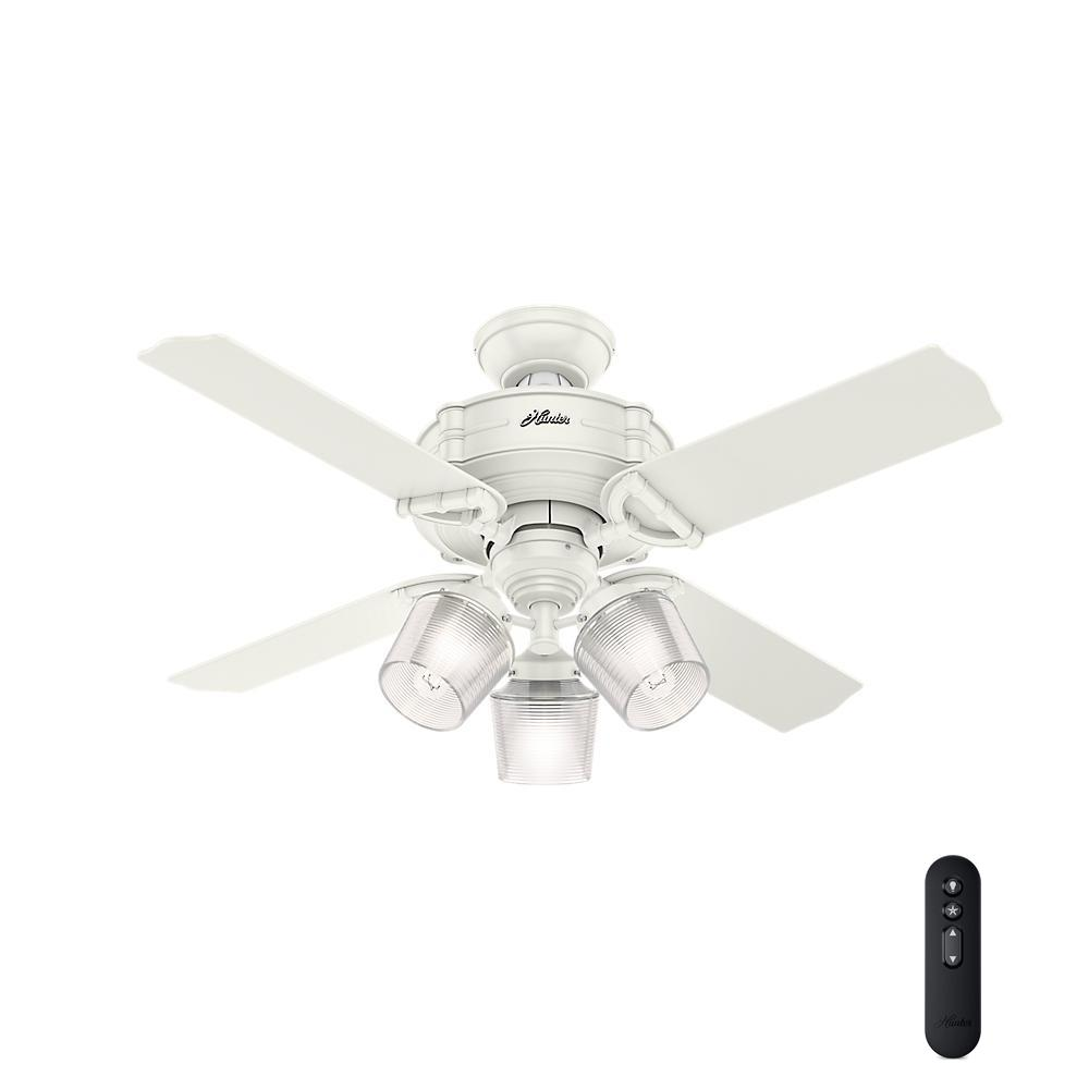 white ceiling fans dempsey 44 in low profile led indoor fresh white 11554