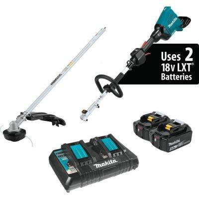 18-Volt X2 (36-Volt) LXT Lithium-Ion Brushless Couple Shaft Power Head Kit with Trimmer Attachment (5.0Ah)