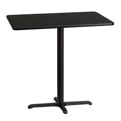 30 in. x 42 in. Rectangular Black Laminate Table Top with 22 in. x 30 in. Bar Height Table Base