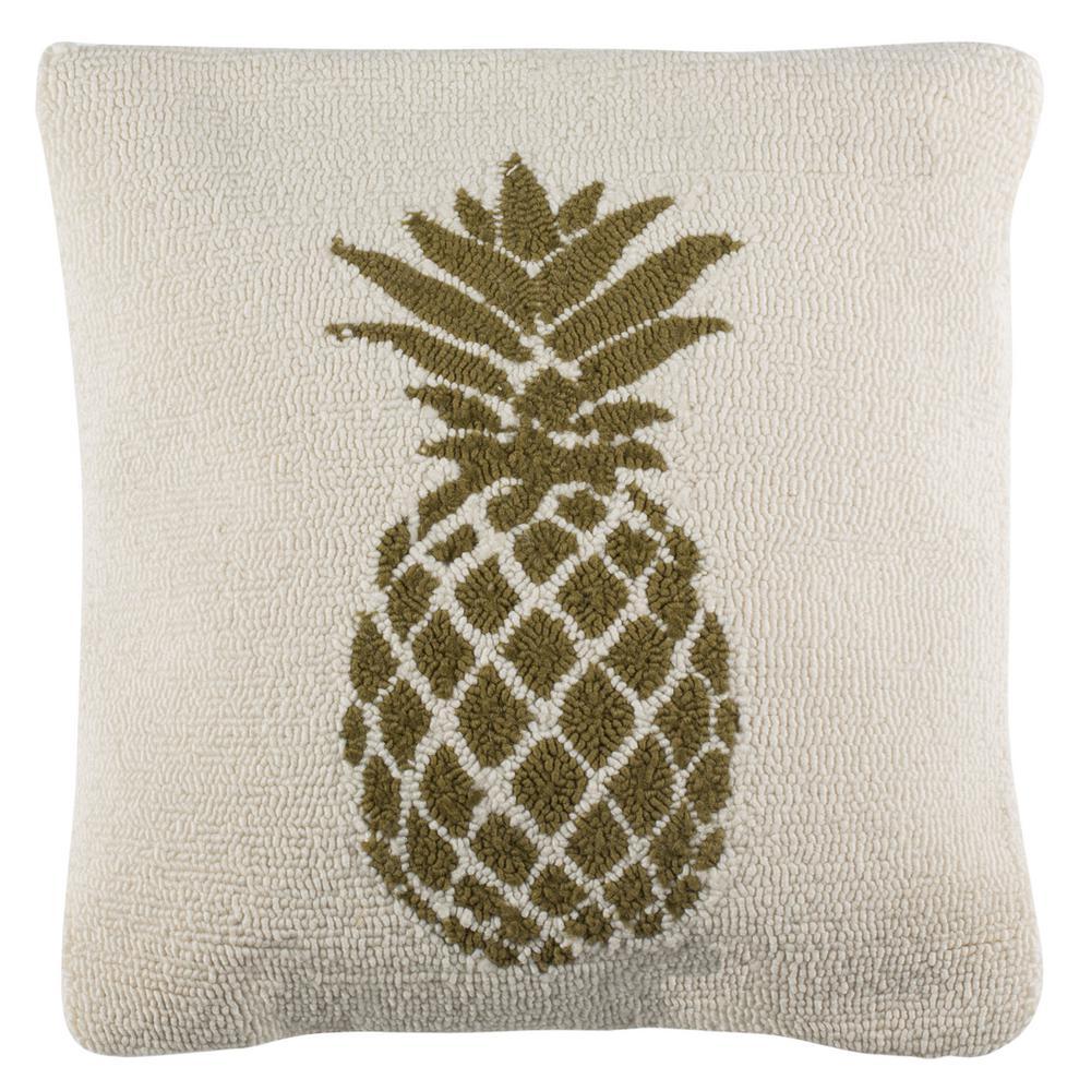 Safavieh Pure Pineapple Green/White Square Outdoor Throw Pillow