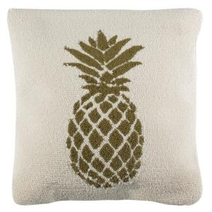 Pure Pineapple Green/White Square Outdoor Throw Pillow