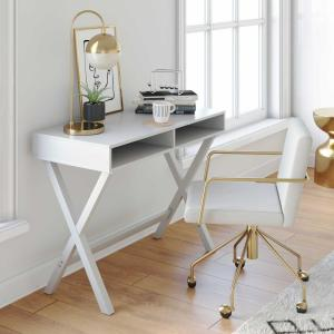 Deals on Nathan James Kalos White Home Office Writing Computer Desk