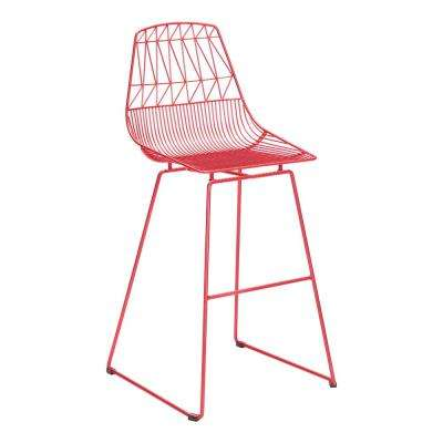Brody Red Metal Outdoor Bar Stool (2-Pack)