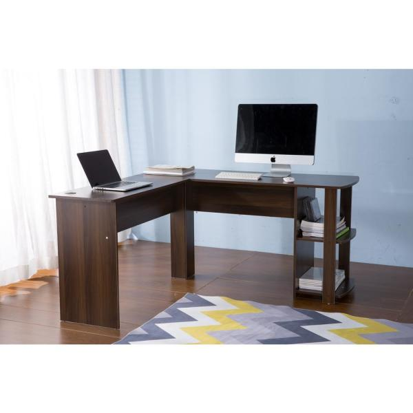 Harper & Bright Designs Brown L-Shaped Computer Desk with Side Storage