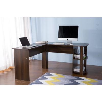 Brown L-Shaped Computer Desk with Side Storage