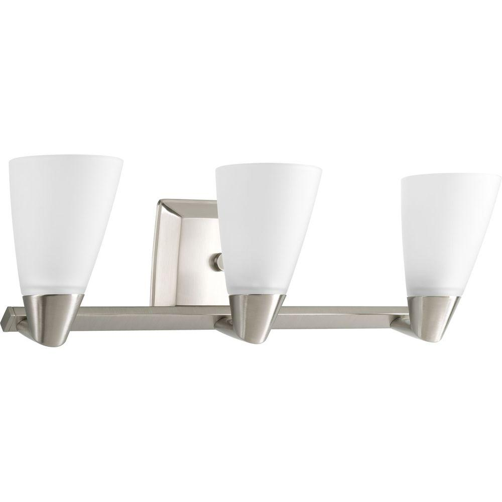 Progress Lighting Rizu Collection 3 Light Brushed Nickel Vanity Light With Etched Glass Shades