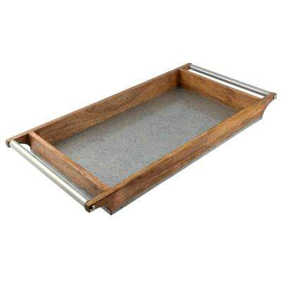 Rectangle Galvanized Iron with Mango Wood Serving Board