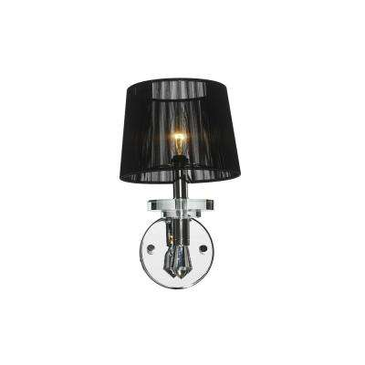 Gatsby 1-Light Polished Chrome Sconce with Clear Crystal