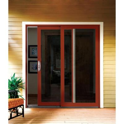 72 in. x 80 in. W-2500 Contemporary White Clad Wood Left-Hand Full Lite Sliding Patio Door w/White Paint Interior