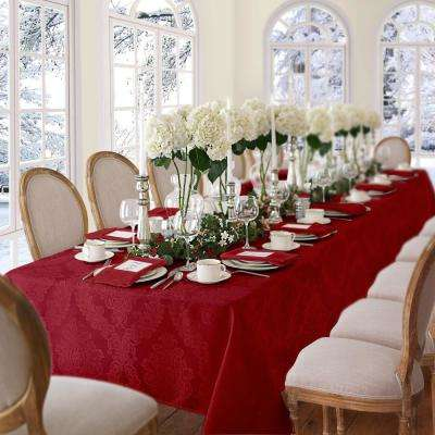 60 in. W x 84 in. L OvaL Red Elrene Barcelona Damask Fabric Tablecloth