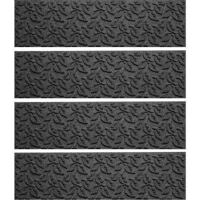 Charcoal 8.5 in. x 30 in. Dogwood Leaf Stair Tread Cover (Set of 4)