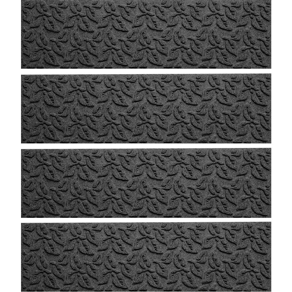 Charcoal 8.5 in. x 30 in. Dogwood Leaf Stair Tread (Set