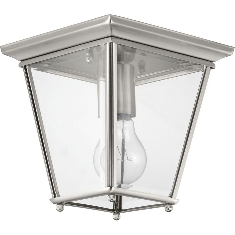 Burlington 1-Light Brushed Nickel Outdoor Flush Mount