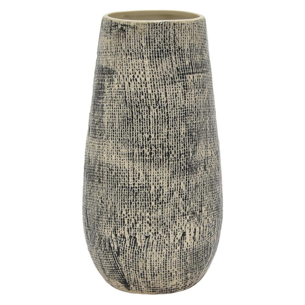 11.75 in. Porcelain-Ceramic Ceramic Vase Finished in Multi-Colored