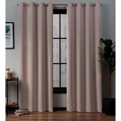 Academy 52 in. W x 96 in. L Woven Blackout Grommet Top Curtain Panel in Blush (2 Panels)