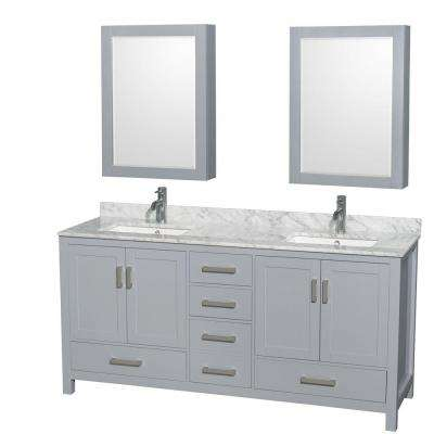 Sheffield 72 in. W x 22 in. D Vanity in Gray with Marble Vanity Top in Carrara White with White Basins and Mirrors