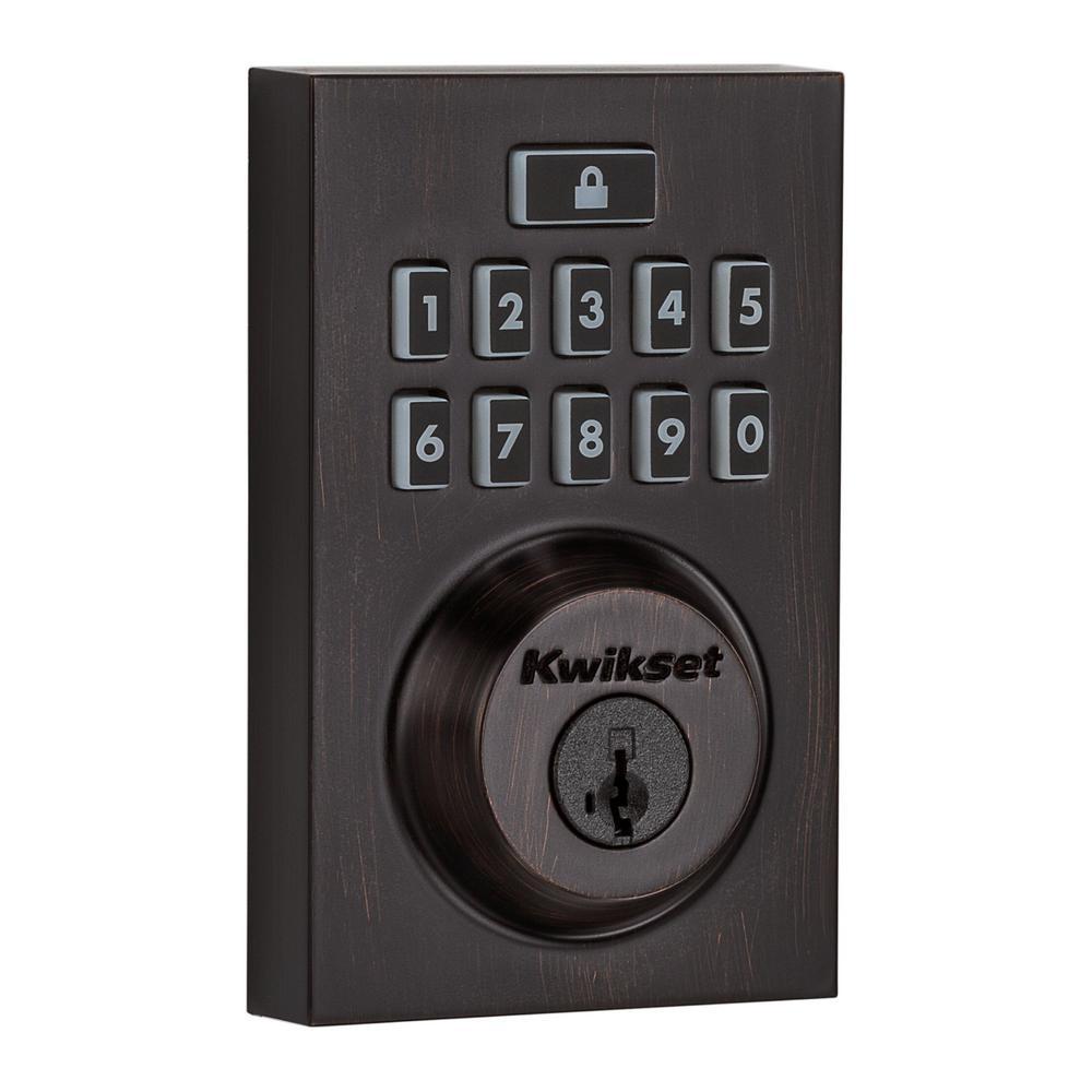 SmartCode 913 Contemporary Venetian Bronze Single Cylinder Electronic Deadbolt Featuring SmartKey Security