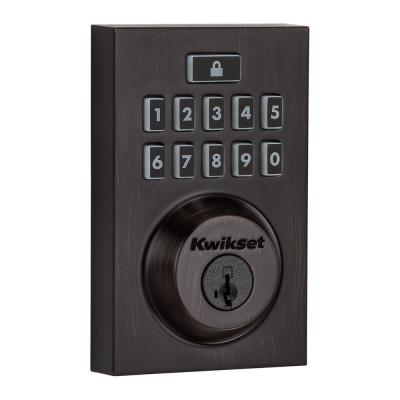 SmartCode 913 Contemporary Venetian Bronze Single Cylinder Electronic Deadbolt Featuring SmartKey Security