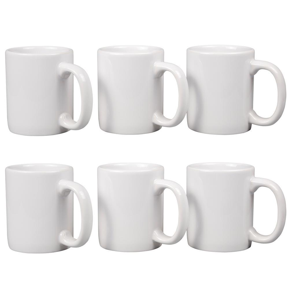 12 fl. oz. White Stoneware Mug (Set of 6)