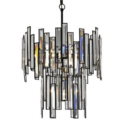 Madison 18 in. 4-Light Aged Bronze Two Tier Frame with Crystal Prisms
