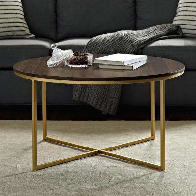 36 in. Dark Walnut/Gold Mid Century Modern Coffee Table with X-Base